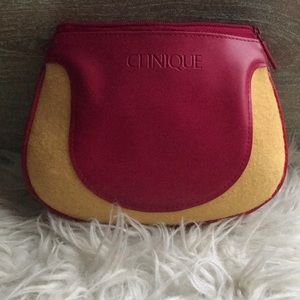 Clinique Red Yellow Cosmetic Pouch Bag Case